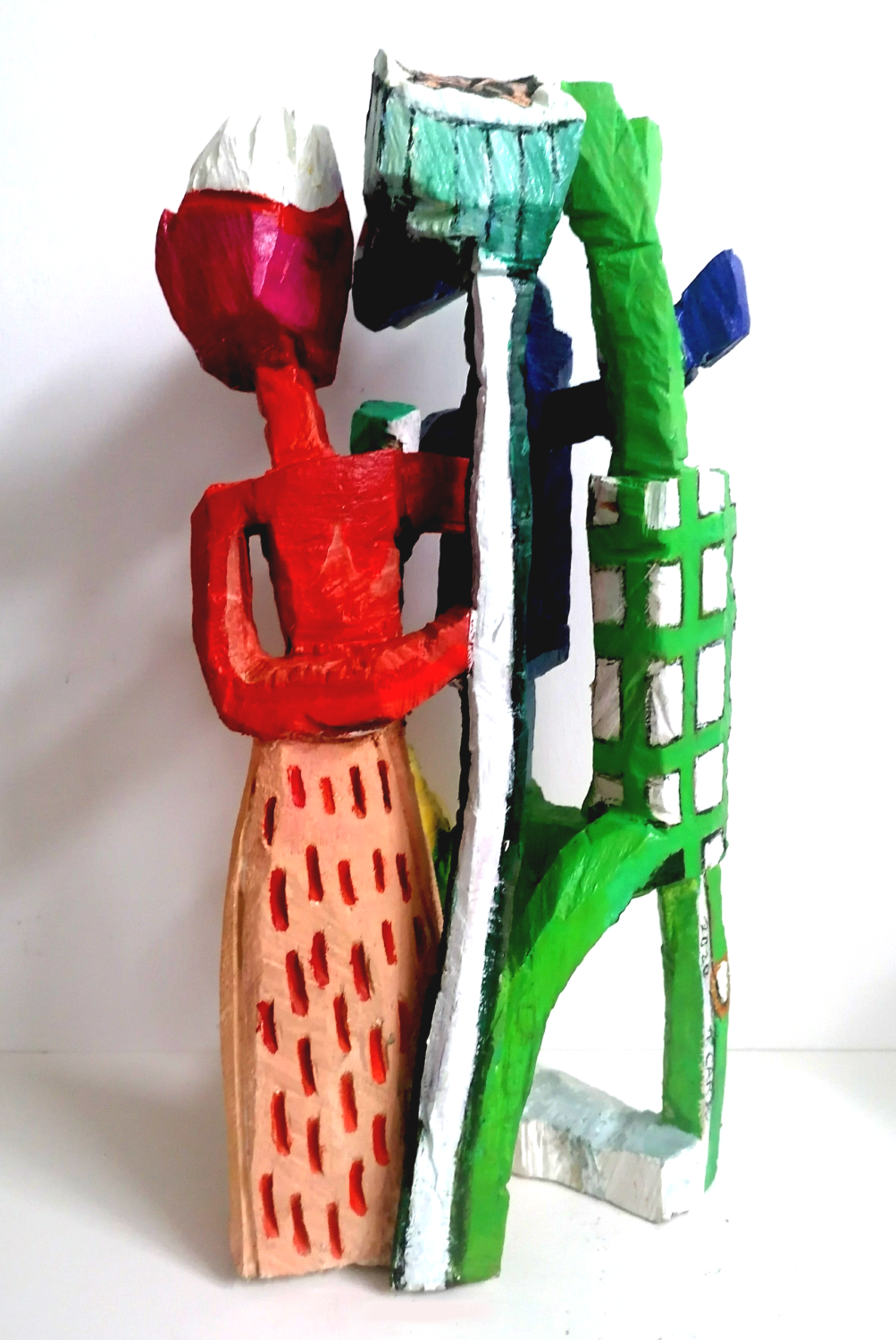 Terence Carr, Counting Sighs, 2020, Holz, farbig gefasst, 68 x 32 x 35 cm, Preis auf Anfrage