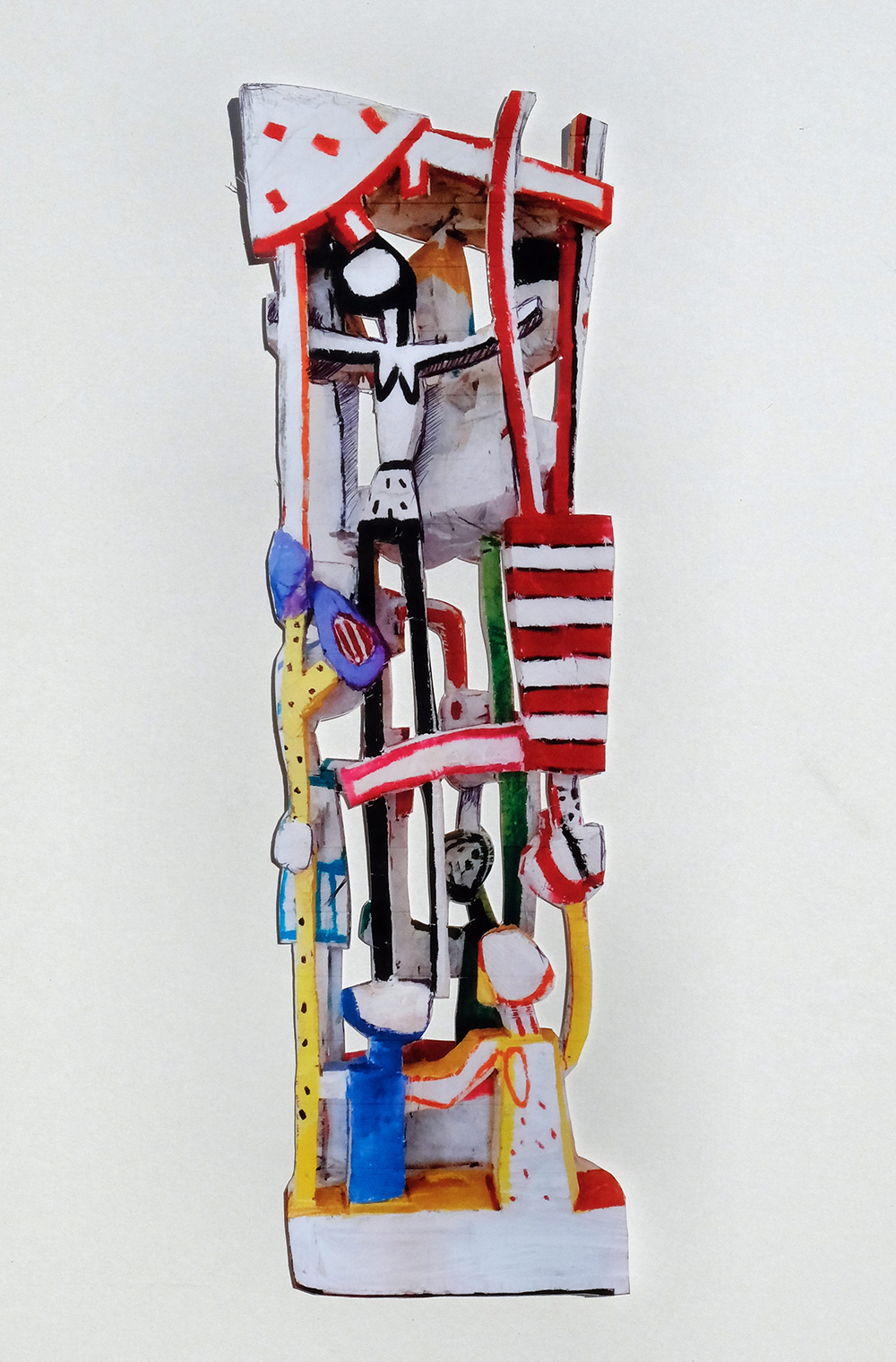 Terence Carr, Stop the World I want to Get Off, 2016, Holz, farbig gefasst,  220 cm x 60 cm x 50 cm, Preis auf Anfrage